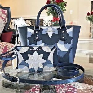 Michael kors sandrine patchwork satchel +Wristlet